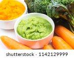 vegetable puree  carrots ... | Shutterstock . vector #1142129999