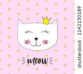 little cute cat princess vector ... | Shutterstock .eps vector #1142150189