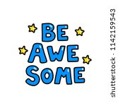 bawesome text. typography for t ...   Shutterstock .eps vector #1142159543
