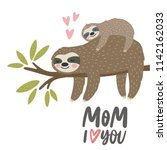 Stock vector super cute sloth vector print happy mother s day cards baby shower cards cute sloth mom and baby 1142162033