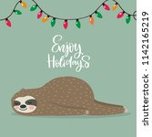 merry christmas card with cute... | Shutterstock .eps vector #1142165219