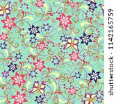 floral seamless pattern with... | Shutterstock .eps vector #1142165759