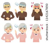senior people suffering from... | Shutterstock .eps vector #1142167850