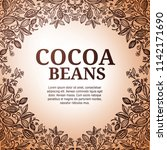 cacao beans plant  vector... | Shutterstock .eps vector #1142171690