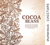 cacao beans plant  vector... | Shutterstock .eps vector #1142171693