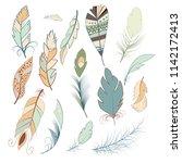 tribal feather bird nature wing ... | Shutterstock .eps vector #1142172413
