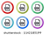pdf file vector icon set.... | Shutterstock .eps vector #1142185199