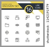 discovery icons. set of line... | Shutterstock .eps vector #1142191979