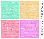 4 x 10cm square healing words...   Shutterstock . vector #1142196656