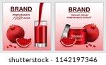 pomegranate juice seeds banner... | Shutterstock . vector #1142197346