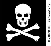 skull with bones on black... | Shutterstock .eps vector #1142219846