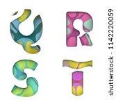 paper cut color letter q r s t... | Shutterstock .eps vector #1142220059