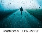 Lonely Man Stands On Misty Road ...