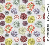 vector succulents seamless... | Shutterstock .eps vector #1142229476