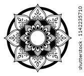 Mandala pattern black and white. Decorative round ornament pattern. Yoga Logos Vector, Ethnic Mandala Ornament. Vector Illustration EPS10