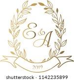 wedding card gold  e a  wreath  ... | Shutterstock .eps vector #1142235899