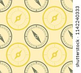 seamless pattern with compass... | Shutterstock .eps vector #1142240333