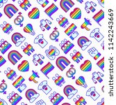 lgbt seamless pattern with thin ... | Shutterstock .eps vector #1142243669