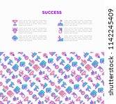 success concept with thin line... | Shutterstock .eps vector #1142245409