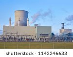 power station  pipes with smoke | Shutterstock . vector #1142246633