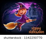 witch cartoon illustration | Shutterstock .eps vector #1142250770