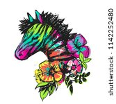 t shirt design with zebra and... | Shutterstock .eps vector #1142252480