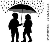 children under the umbrella are ... | Shutterstock .eps vector #1142256116