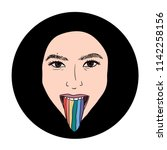 hand drawn lgbt girl or woman...   Shutterstock .eps vector #1142258156