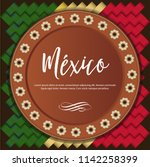 mexican traditional clay plate... | Shutterstock .eps vector #1142258399