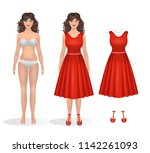 beautiful girl paper doll in a... | Shutterstock .eps vector #1142261093