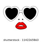 retro heart eye sunglasses... | Shutterstock .eps vector #1142265863