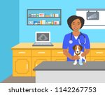 veterinarian doctor holds dog... | Shutterstock .eps vector #1142267753