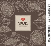 background with wok  chinese... | Shutterstock .eps vector #1142268119