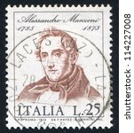 Small photo of ITALY - CIRCA 1973: stamp printed by Italy, shows Alessandro Manzoni, by Francisco Hayez, circa 1973