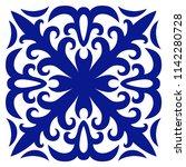 tile ornament. navy blue ornate ...   Shutterstock .eps vector #1142280728