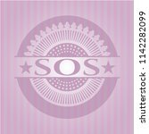 sos badge with pink background | Shutterstock .eps vector #1142282099
