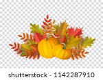 autumn leaves and pumpkins... | Shutterstock .eps vector #1142287910