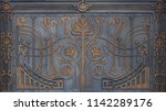 ornate wrought iron elements of ... | Shutterstock . vector #1142289176