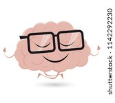 funny brain is doing yoga  | Shutterstock .eps vector #1142292230