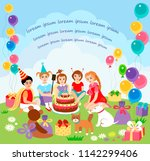 children happy birhday party | Shutterstock .eps vector #1142299406