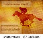jockey on racing horse over... | Shutterstock .eps vector #1142301806