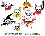 skulls set with blots | Shutterstock . vector #114230869