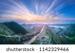 mountain landscape with hiking...   Shutterstock . vector #1142329466