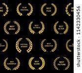golden on black film award...   Shutterstock .eps vector #1142330456