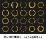 set of laurel wreaths. heraldic ... | Shutterstock .eps vector #1142330633