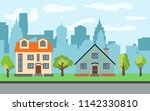 city with two two story cartoon ...   Shutterstock . vector #1142330810
