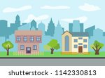 city with two two story cartoon ...   Shutterstock . vector #1142330813