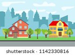city with two story and three...   Shutterstock . vector #1142330816