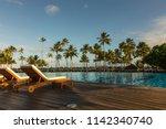 beautiful tropical beach front... | Shutterstock . vector #1142340740