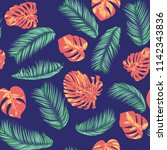 summer exotic floral tropical... | Shutterstock .eps vector #1142343836